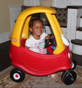 Quinn Excited to Take Her Car for a Drive