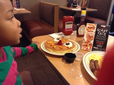 Quinn's Scary Face Pancake at IHOP